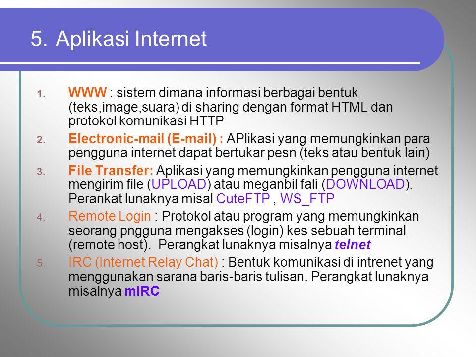 5. Aplikasi Internet WWW : sistem dimana informasi berbagai bentuk (teks,image,suara) di sharing dengan format HTML dan protokol komunikasi HTTP.