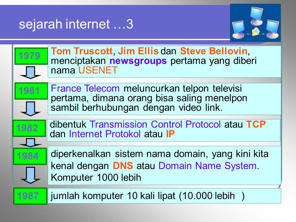 sejarah internet …3 Tom Truscott, Jim Ellis dan Steve Bellovin, menciptakan newsgroups pertama yang diberi nama USENET.