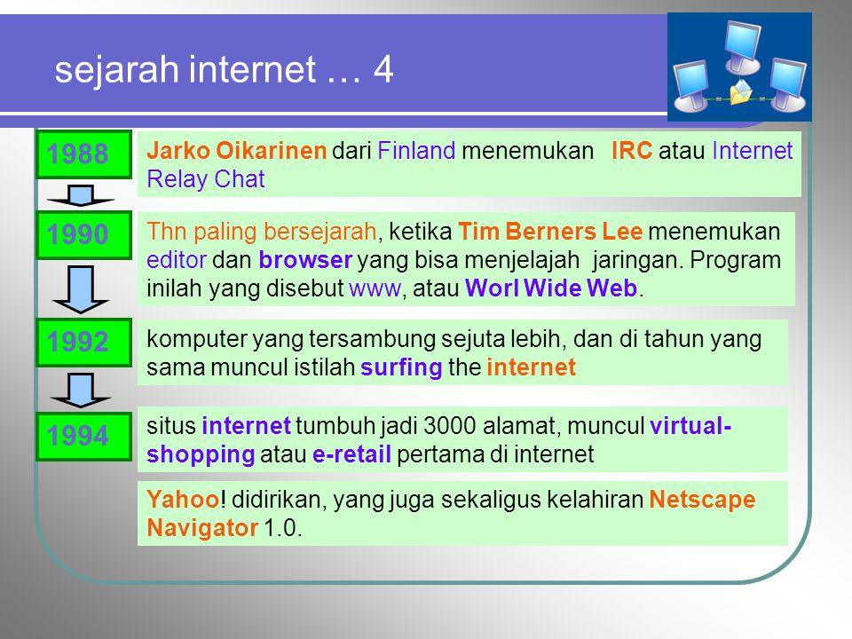 sejarah internet … 4 1988. Jarko Oikarinen dari Finland menemukan IRC atau Internet Relay Chat. 1990.