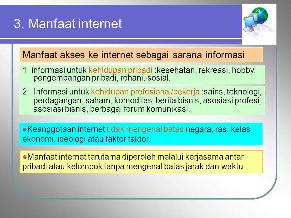 3. Manfaat internet Manfaat akses ke internet sebagai sarana informasi