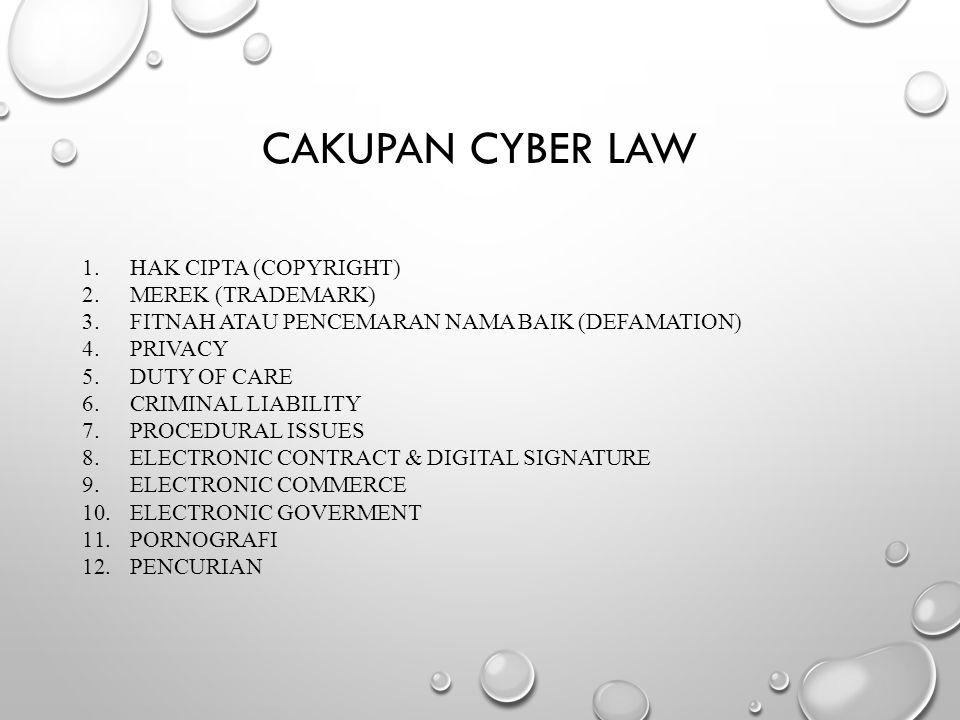 Cakupan cyber law Hak cipta (Copyright) Merek (Trademark)