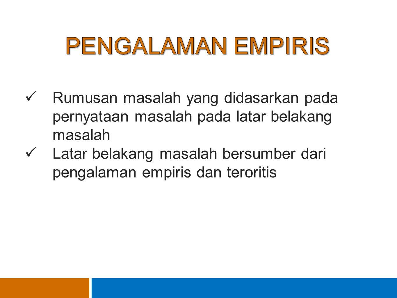 PENGALAMAN EMPIRIS Rumusan masalah yang didasarkan pada pernyataan masalah pada latar belakang masalah.