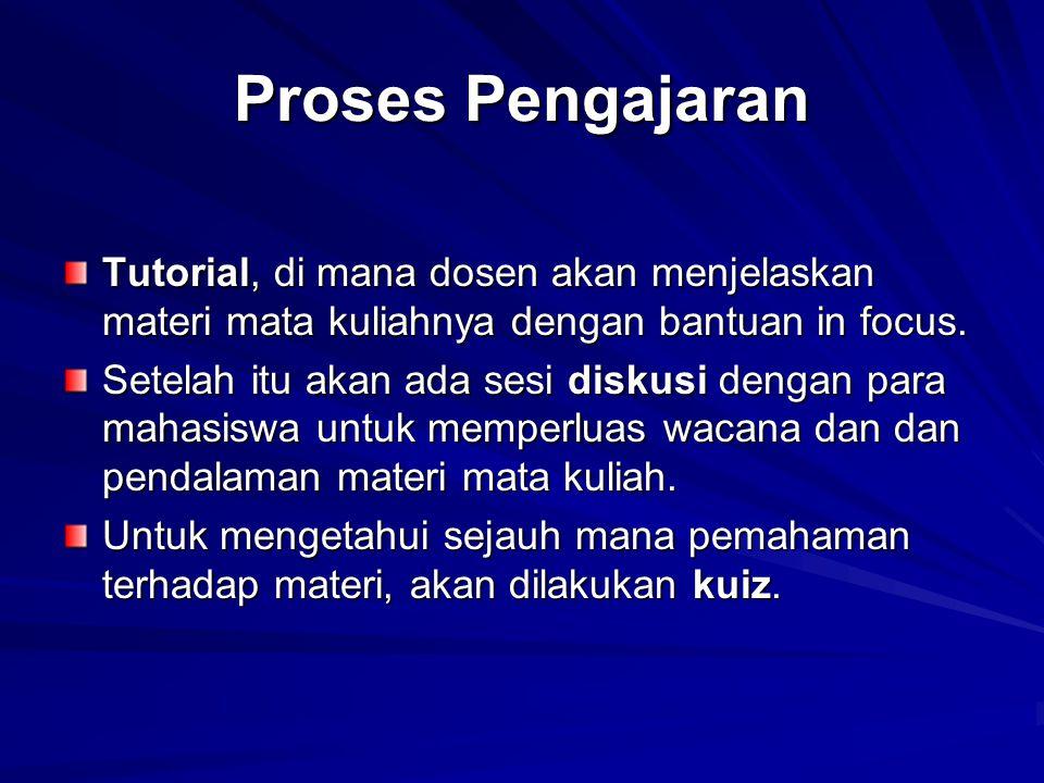 Proses Pengajaran Tutorial, di mana dosen akan menjelaskan materi mata kuliahnya dengan bantuan in focus.