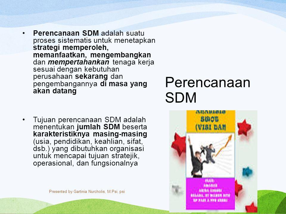 Perencanaan SDM adalah suatu proses sistematis untuk menetapkan strategi memperoleh, memanfaatkan, mengembangkan dan mempertahankan tenaga kerja sesuai dengan kebutuhan perusahaan sekarang dan pengembangannya di masa yang akan datang