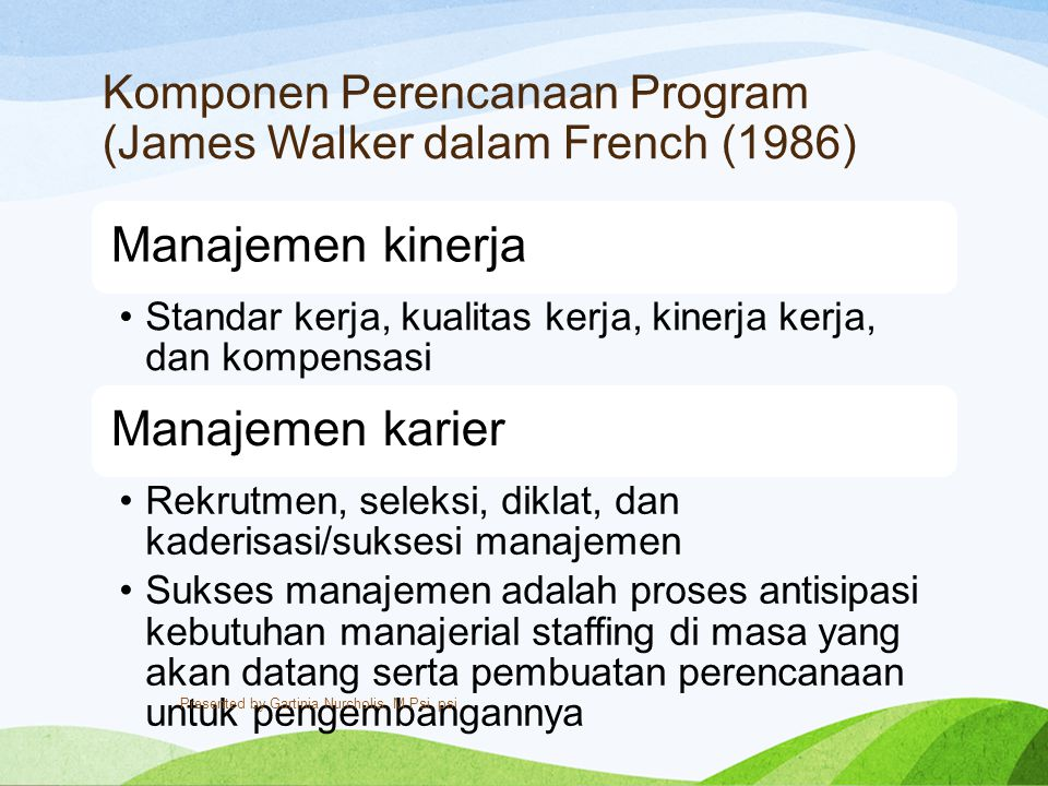 Komponen Perencanaan Program (James Walker dalam French (1986)