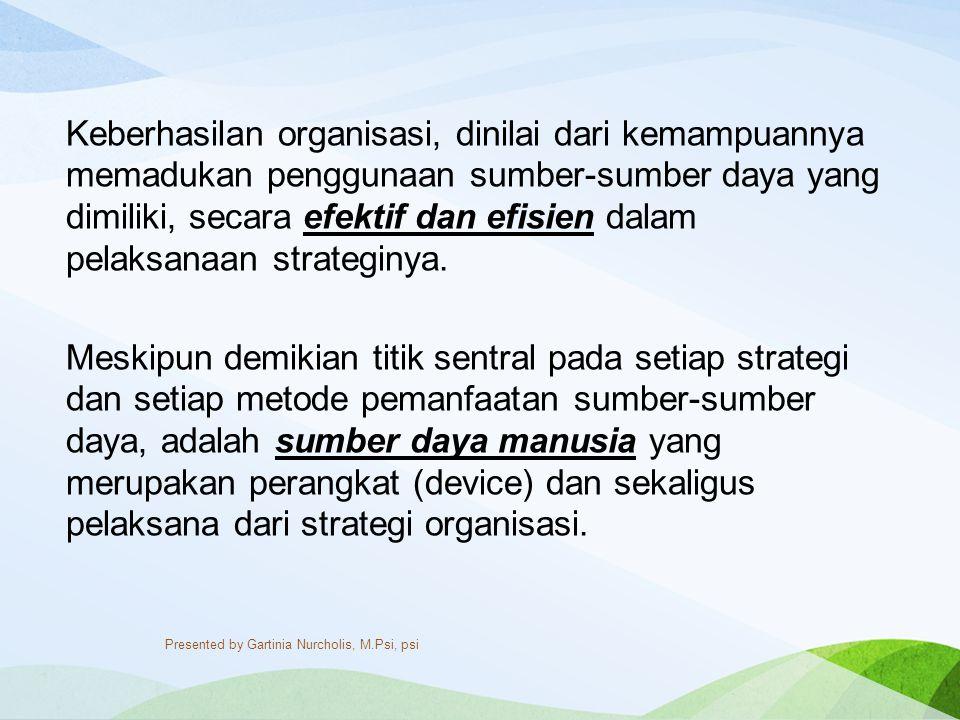 Keberhasilan organisasi, dinilai dari kemampuannya memadukan penggunaan sumber-sumber daya yang dimiliki, secara efektif dan efisien dalam pelaksanaan strateginya.