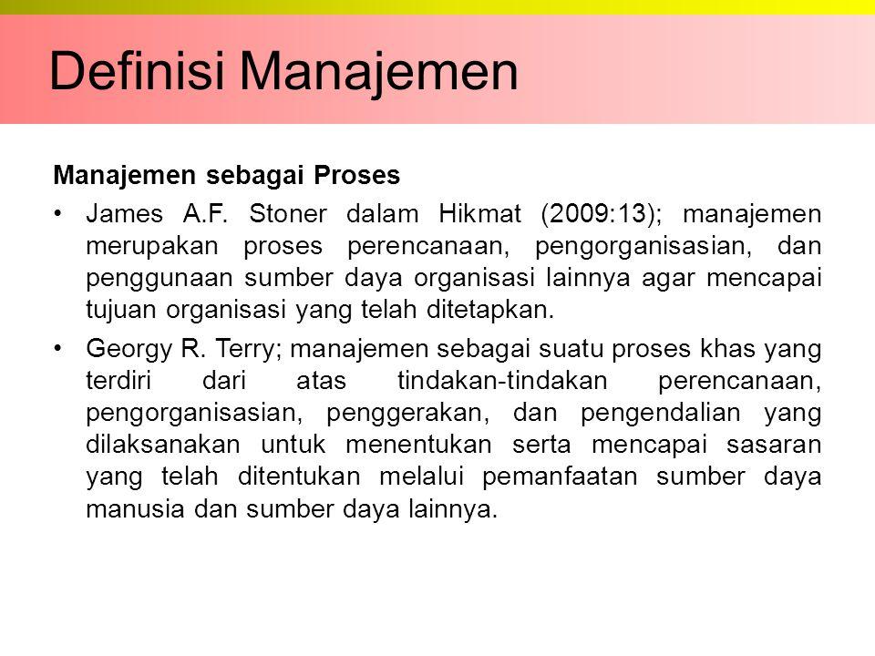 Definisi Manajemen Manajemen sebagai Proses