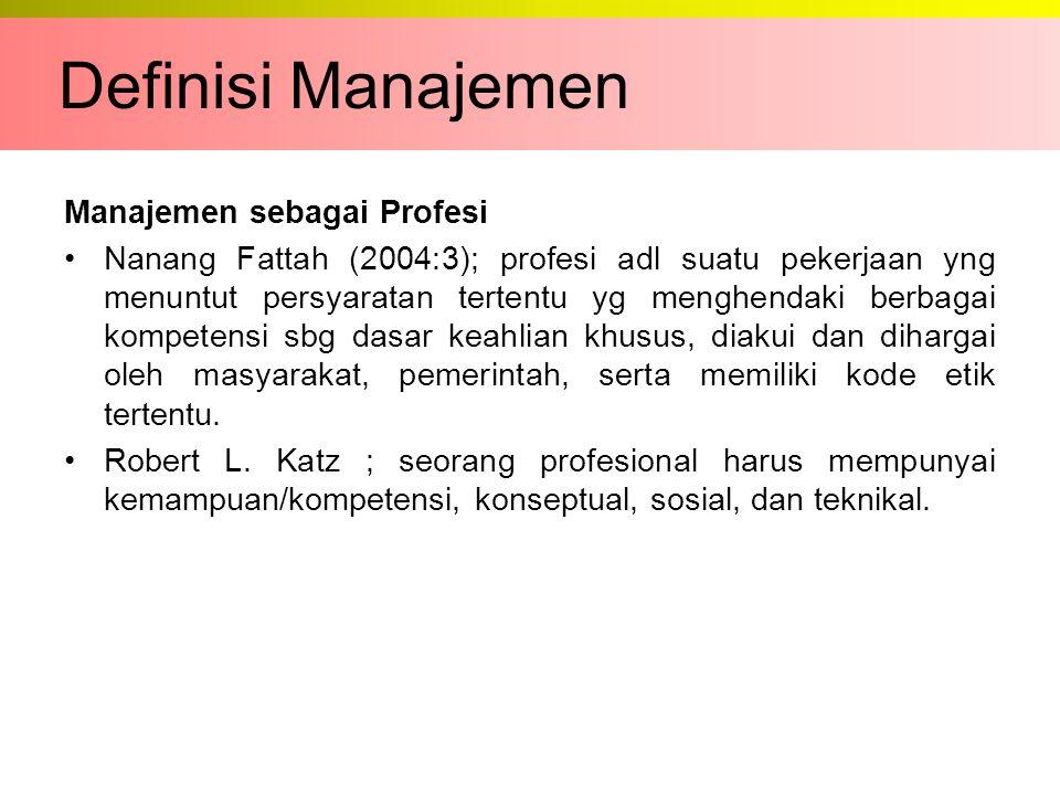 Definisi Manajemen Manajemen sebagai Profesi