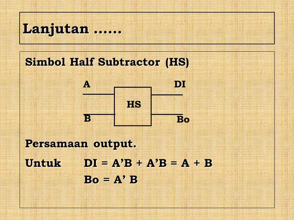 Lanjutan …… Simbol Half Subtractor (HS) Persamaan output.