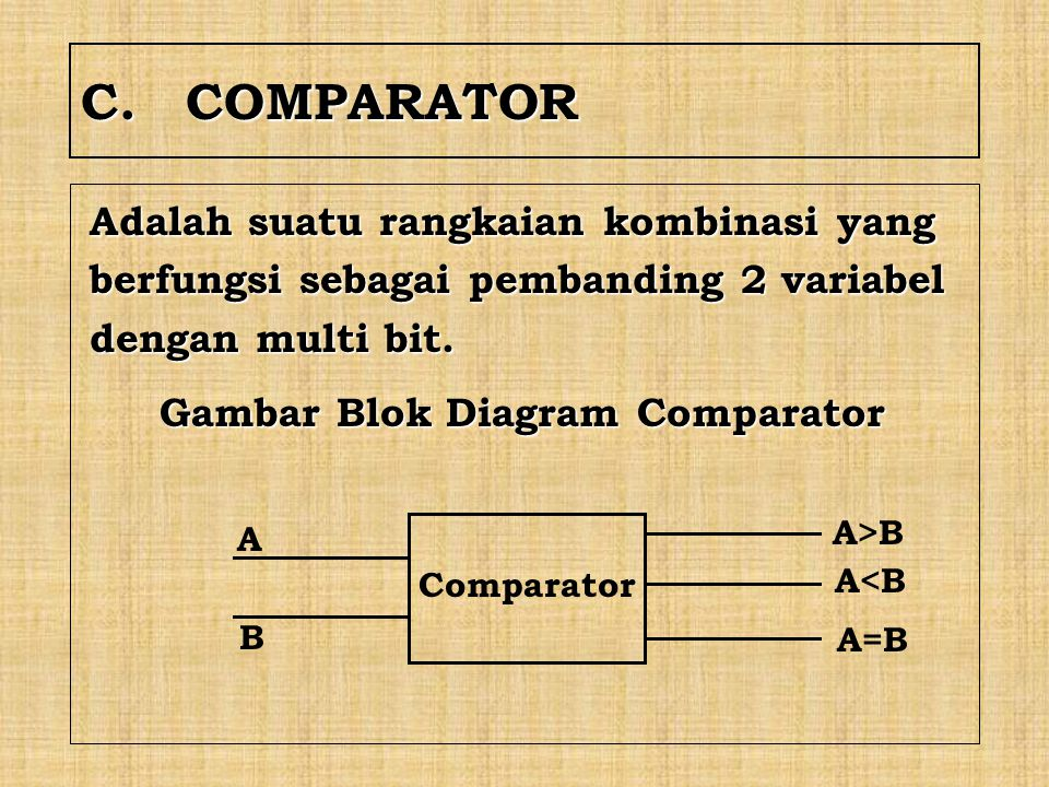 C. COMPARATOR Adalah suatu rangkaian kombinasi yang