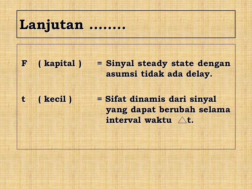 Lanjutan …….. F ( kapital ) = Sinyal steady state dengan asumsi tidak ada delay.