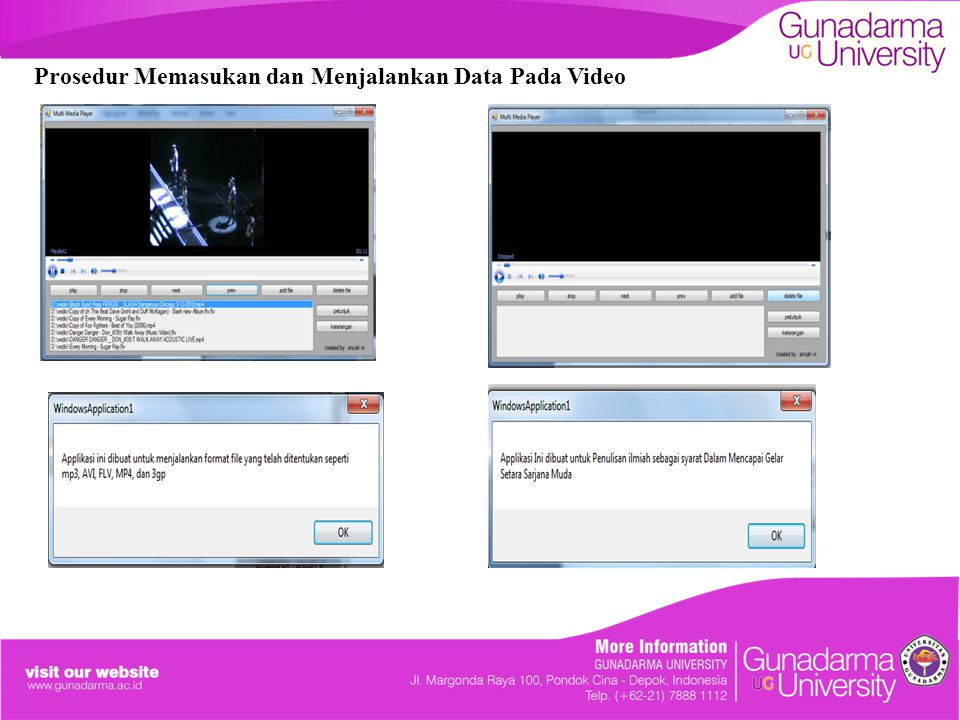 Prosedur Memasukan dan Menjalankan Data Pada Video