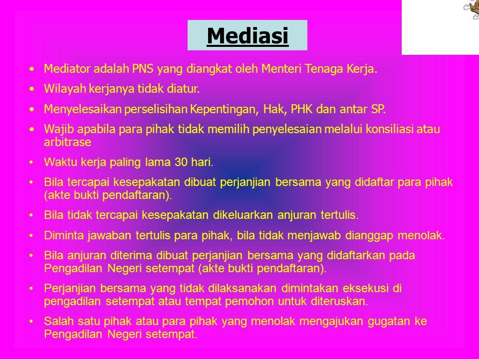 Mediasi Mediator adalah PNS yang diangkat oleh Menteri Tenaga Kerja.
