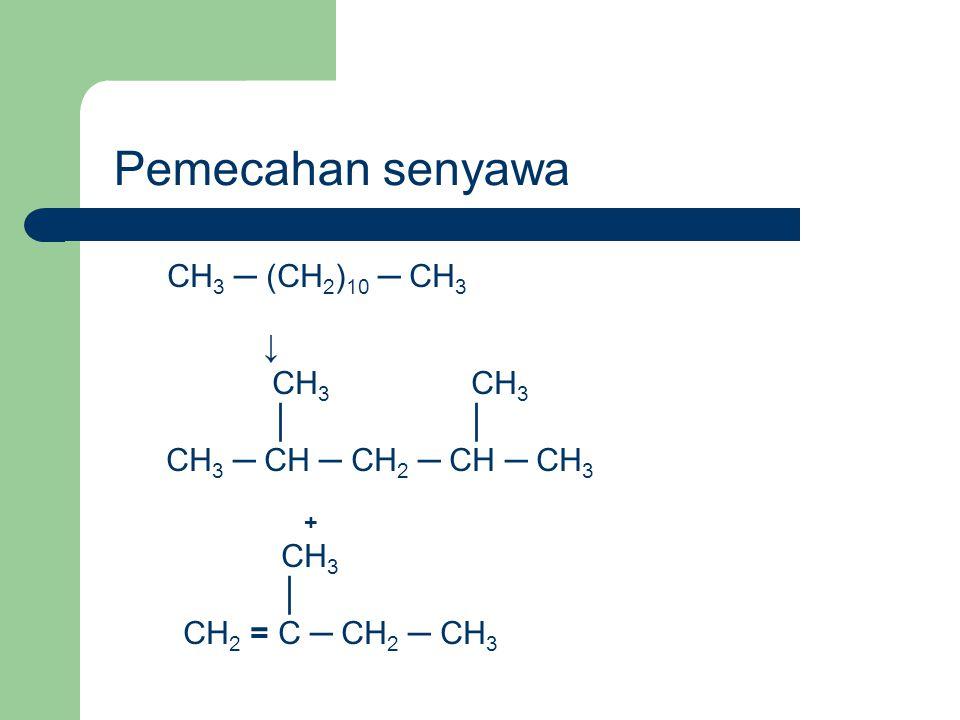 Pemecahan senyawa CH3 ─ (CH2)10 ─ CH3 ↓ CH3 CH3 │ │
