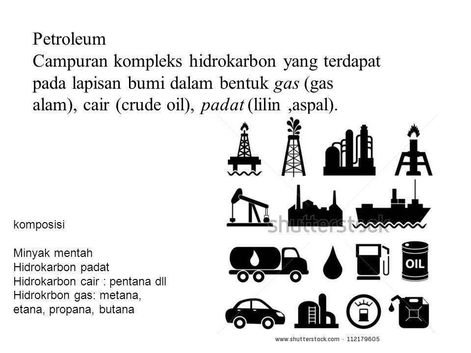 Petroleum Campuran kompleks hidrokarbon yang terdapat pada lapisan bumi dalam bentuk gas (gas alam), cair (crude oil), padat (lilin ,aspal).