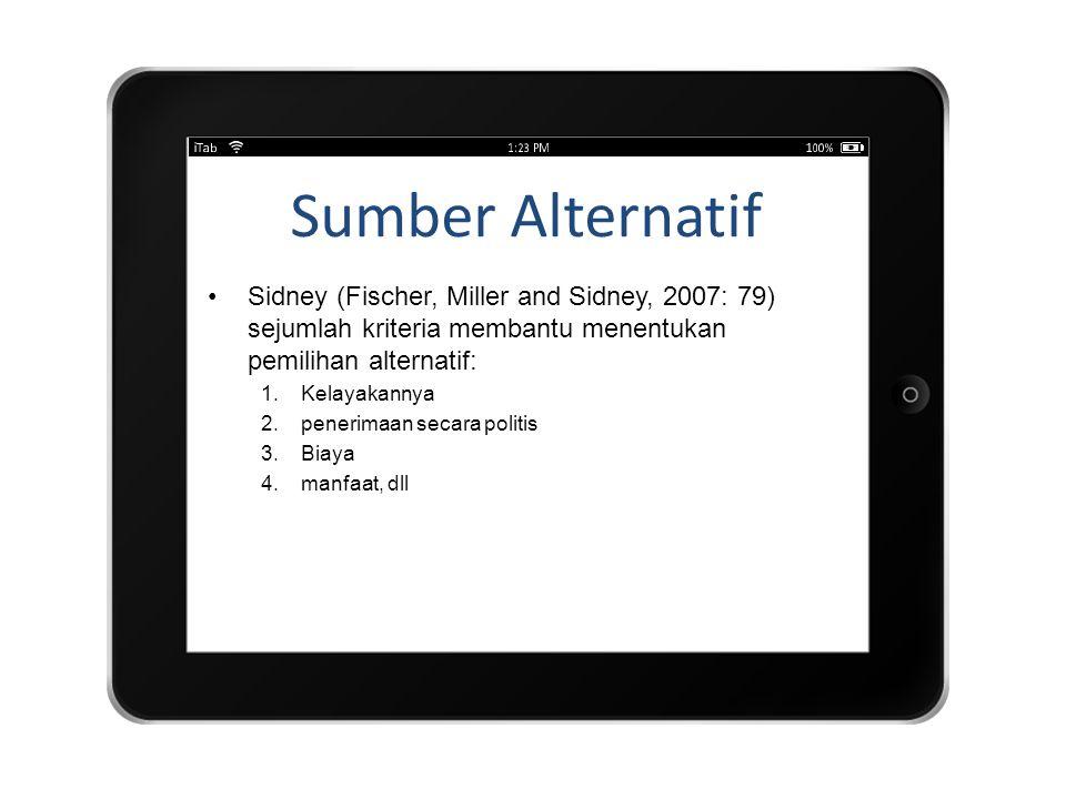 Sumber Alternatif Sidney (Fischer, Miller and Sidney, 2007: 79) sejumlah kriteria membantu menentukan pemilihan alternatif: