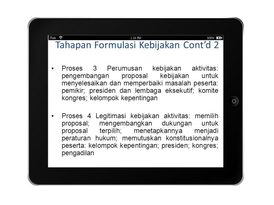 Tahapan Formulasi Kebijakan Cont'd 2