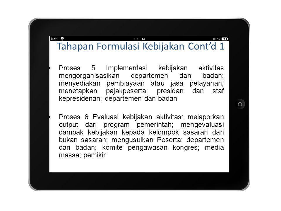 Tahapan Formulasi Kebijakan Cont'd 1
