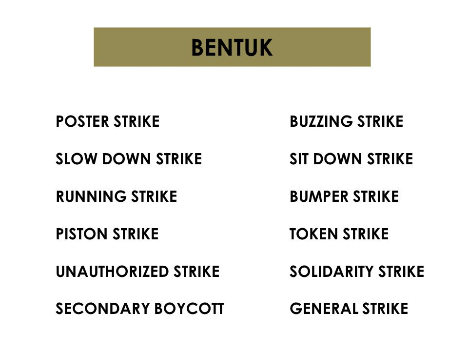 BENTUK POSTER STRIKE BUZZING STRIKE SLOW DOWN STRIKE SIT DOWN STRIKE