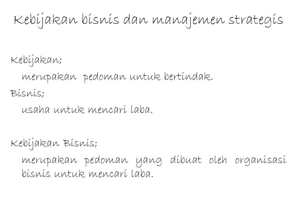 Kebijakan bisnis dan manajemen strategis