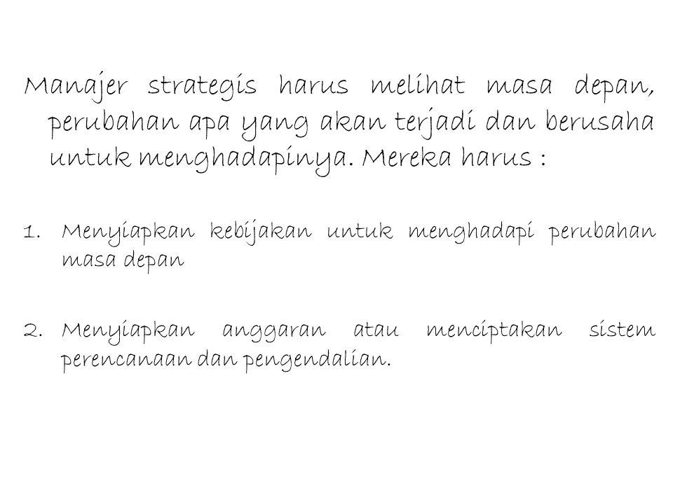 Manajer strategis harus melihat masa depan, perubahan apa yang akan terjadi dan berusaha untuk menghadapinya. Mereka harus :