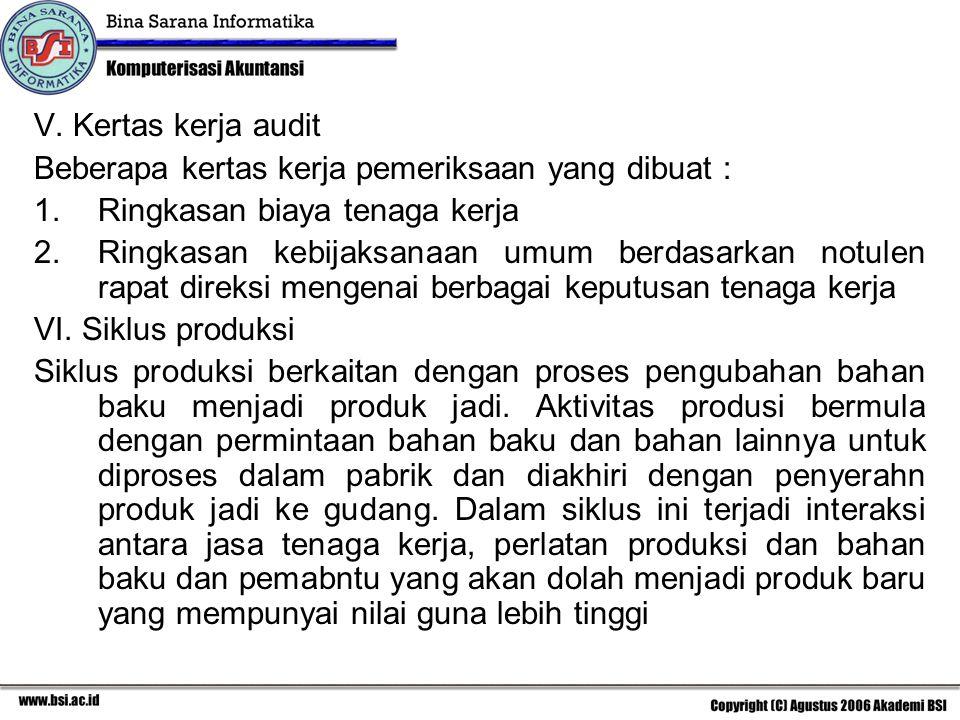 V. Kertas kerja audit Beberapa kertas kerja pemeriksaan yang dibuat : Ringkasan biaya tenaga kerja.