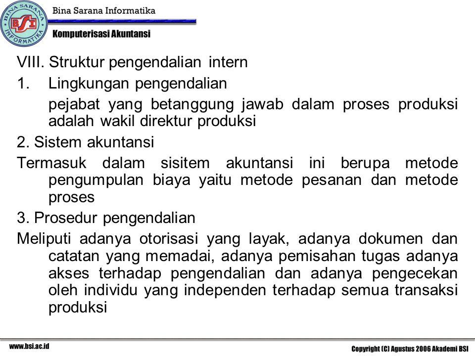 VIII. Struktur pengendalian intern