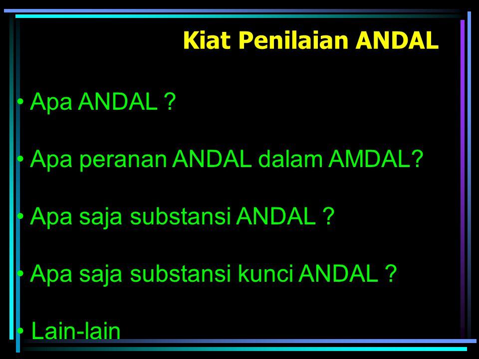 Kiat Penilaian ANDAL Apa ANDAL Apa peranan ANDAL dalam AMDAL Apa saja substansi ANDAL Apa saja substansi kunci ANDAL