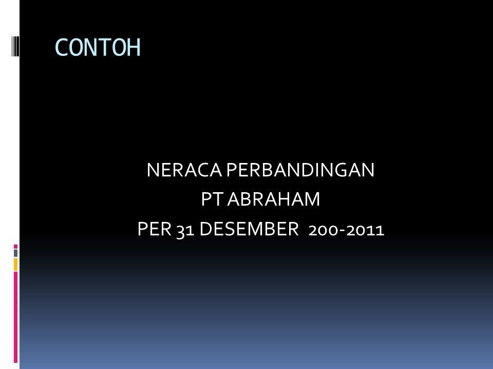 NERACA PERBANDINGAN PT ABRAHAM PER 31 DESEMBER 200-2011