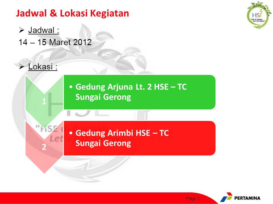Susunan Kegiatan Rabu, 14 Maret 2012 :