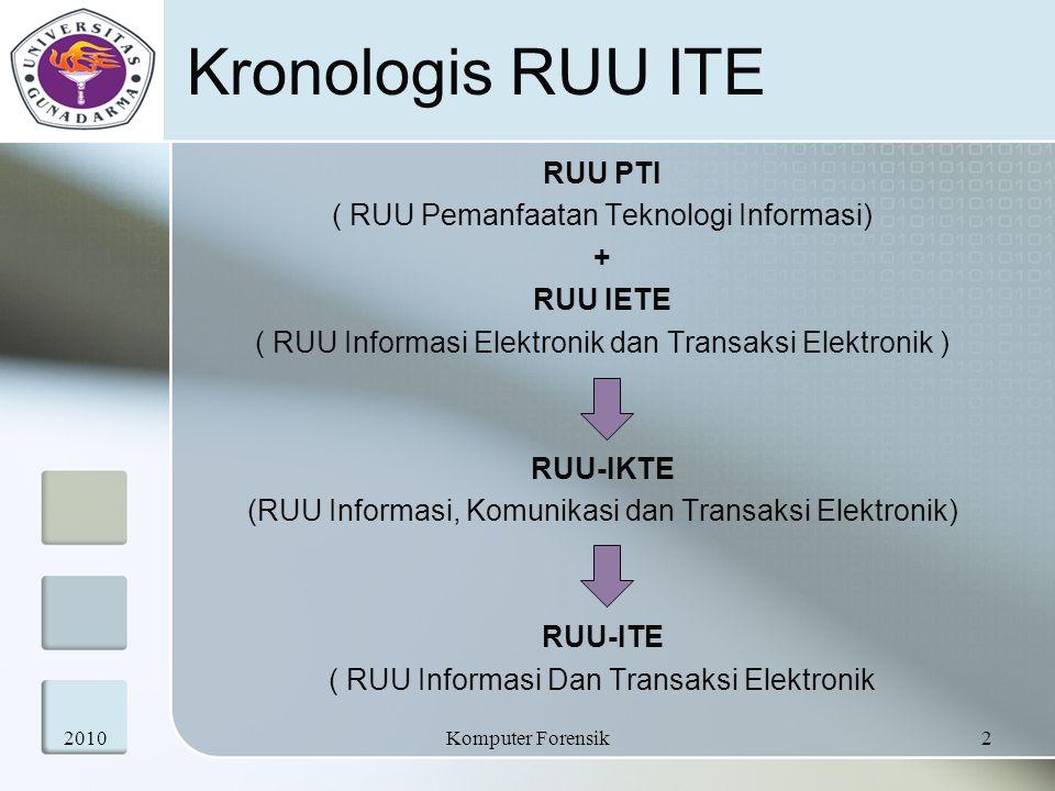 Kronologis RUU ITE RUU PTI ( RUU Pemanfaatan Teknologi Informasi) +