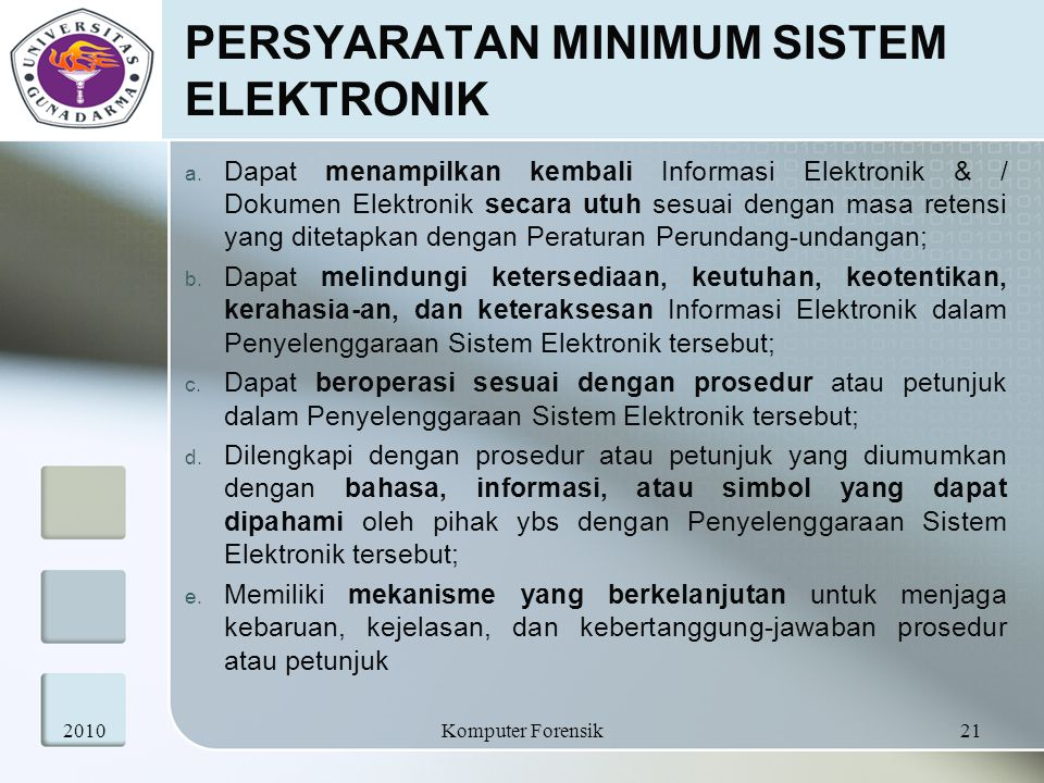 PERSYARATAN MINIMUM SISTEM ELEKTRONIK