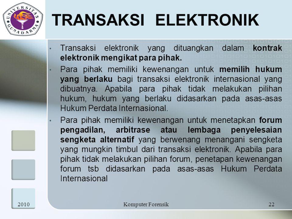 TRANSAKSI ELEKTRONIK Transaksi elektronik yang dituangkan dalam kontrak elektronik mengikat para pihak.