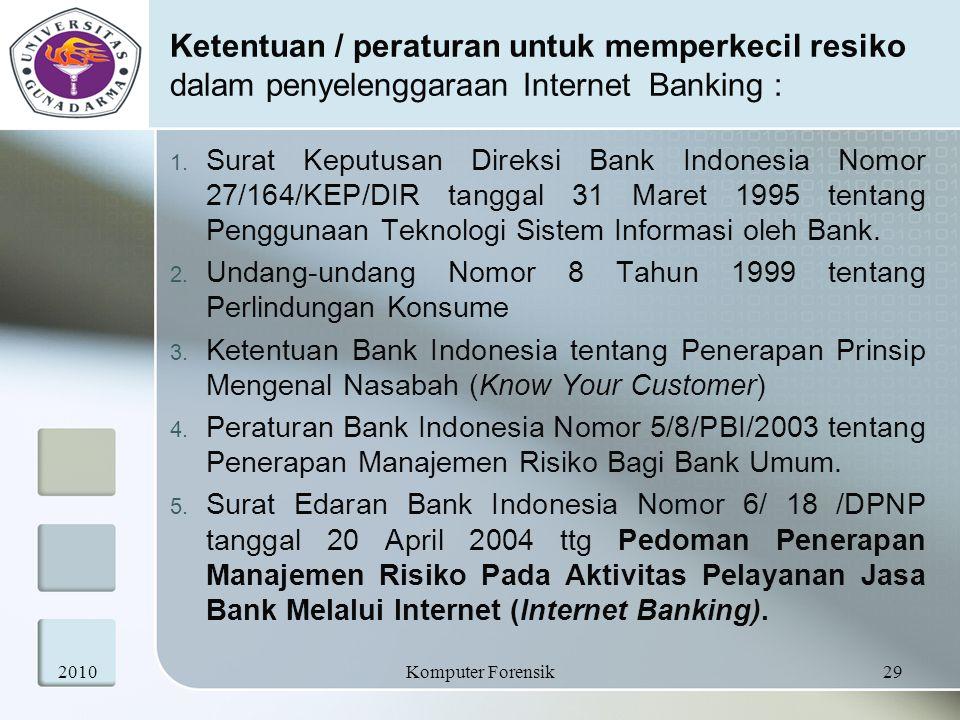 Ketentuan / peraturan untuk memperkecil resiko dalam penyelenggaraan Internet Banking :