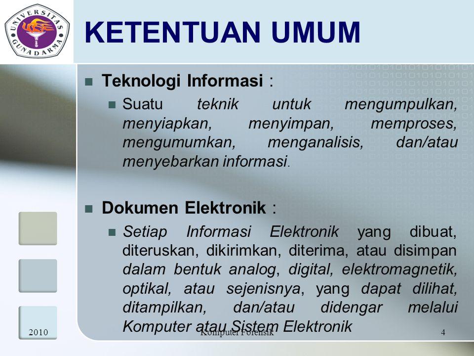 KETENTUAN UMUM Teknologi Informasi : Dokumen Elektronik :