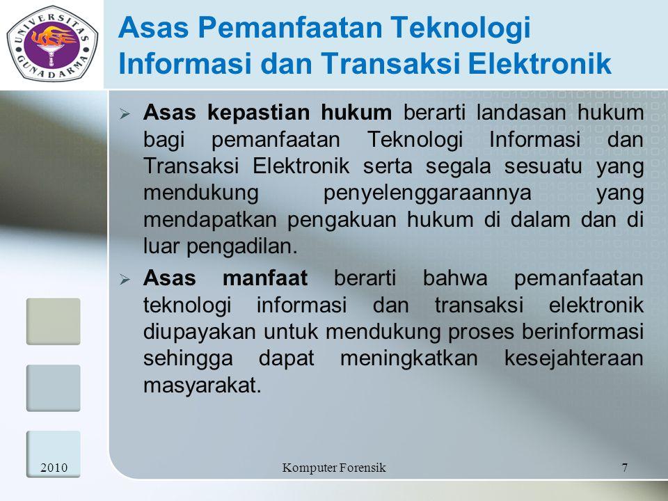 Asas Pemanfaatan Teknologi Informasi dan Transaksi Elektronik