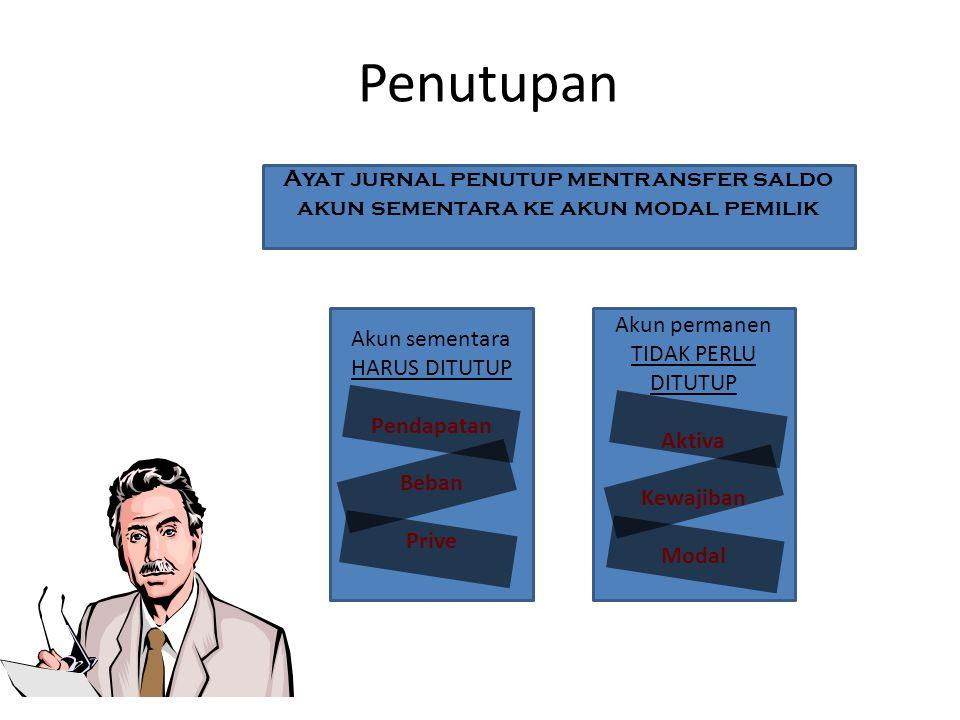 Penutupan Ayat jurnal penutup mentransfer saldo akun sementara ke akun modal pemilik. Akun sementara.