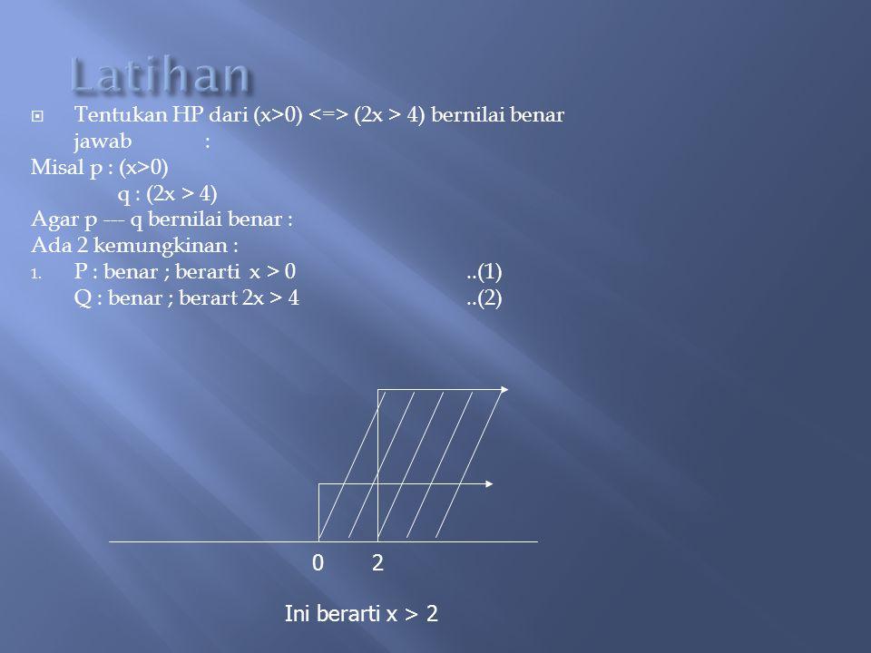 Latihan Tentukan HP dari (x>0) <=> (2x > 4) bernilai benar