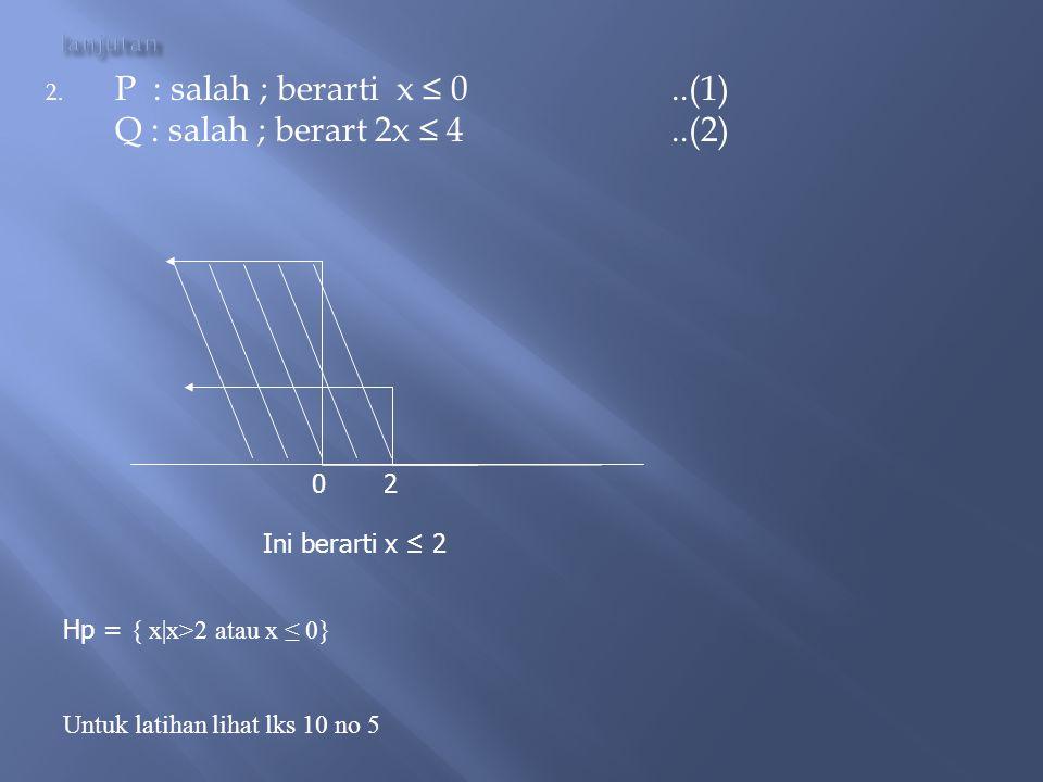 P : salah ; berarti x ≤ 0 ..(1) Q : salah ; berart 2x ≤ 4 ..(2) 0 2