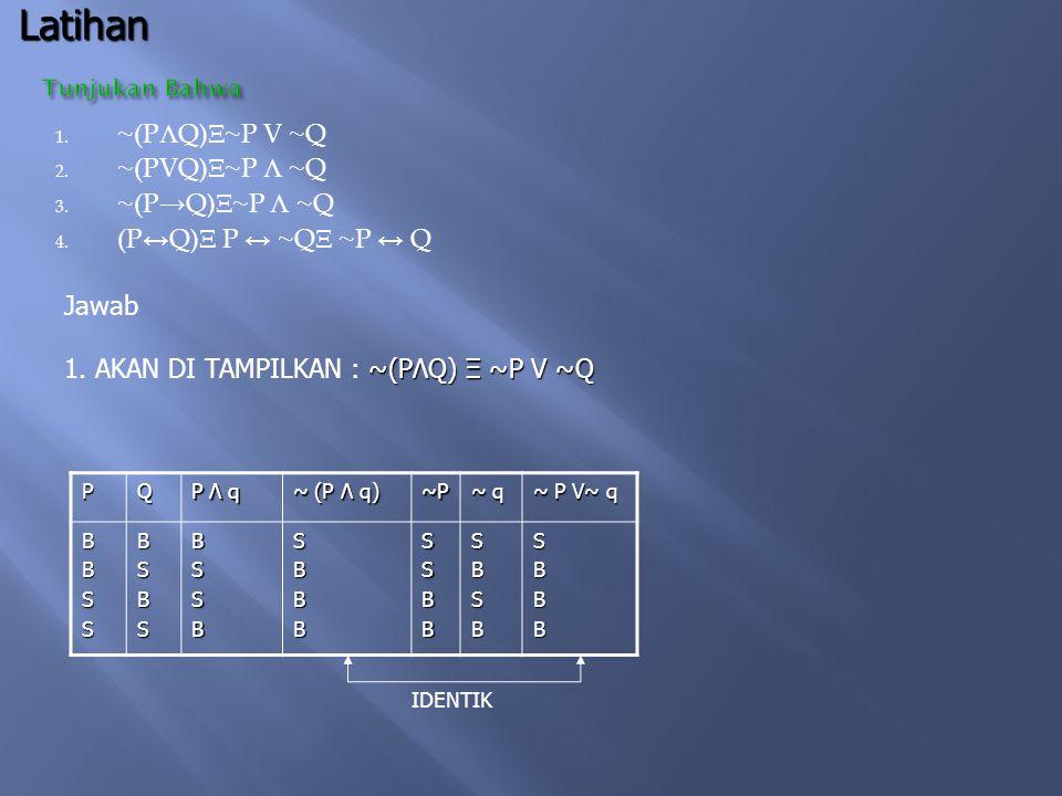 Latihan ~(PΛQ)Ξ~P V ~Q ~(PVQ)Ξ~P Λ ~Q ~(P→Q)Ξ~P Λ ~Q