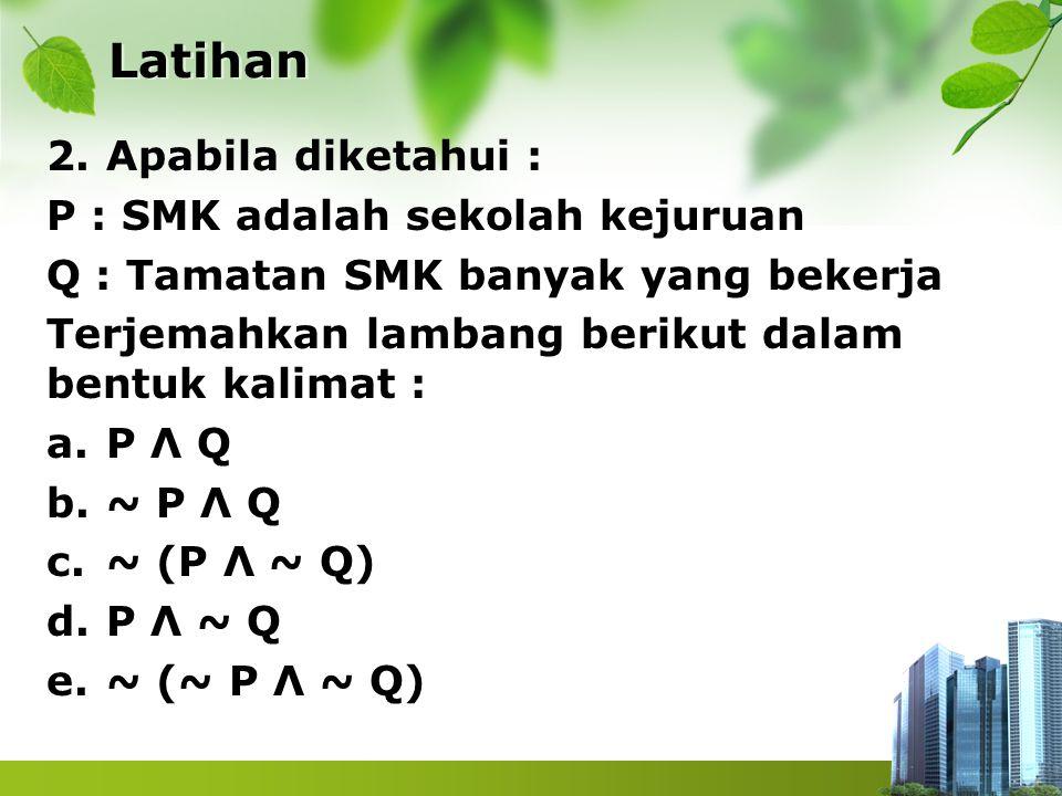 Latihan Apabila diketahui : P : SMK adalah sekolah kejuruan