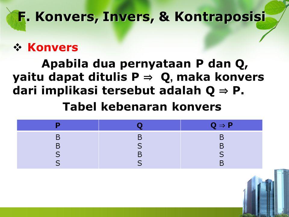 F. Konvers, Invers, & Kontraposisi