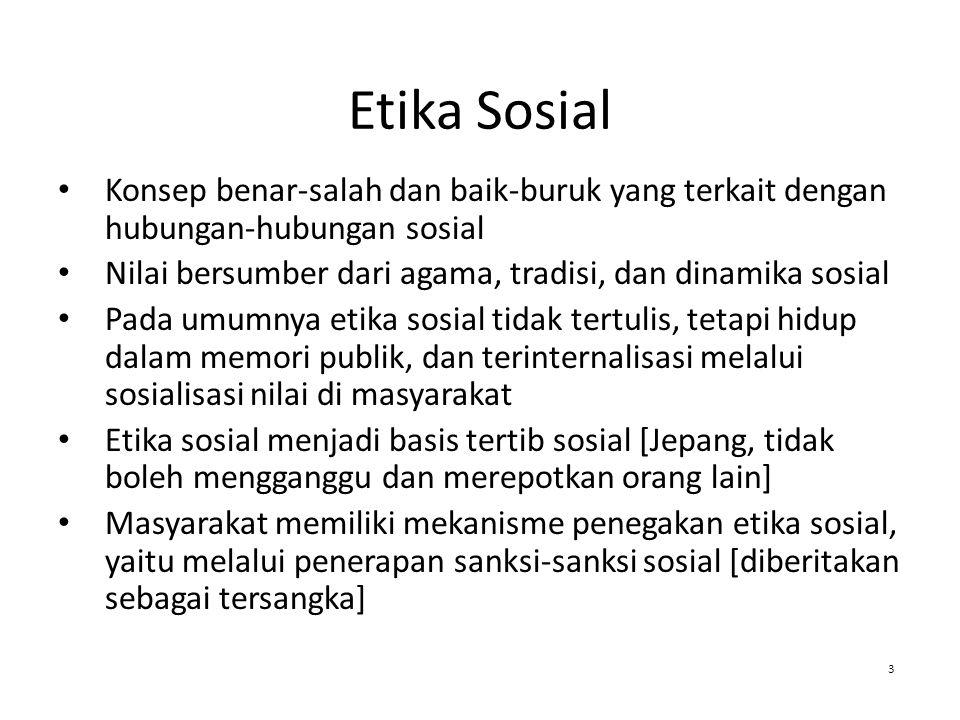Etika Sosial Konsep benar-salah dan baik-buruk yang terkait dengan hubungan-hubungan sosial.