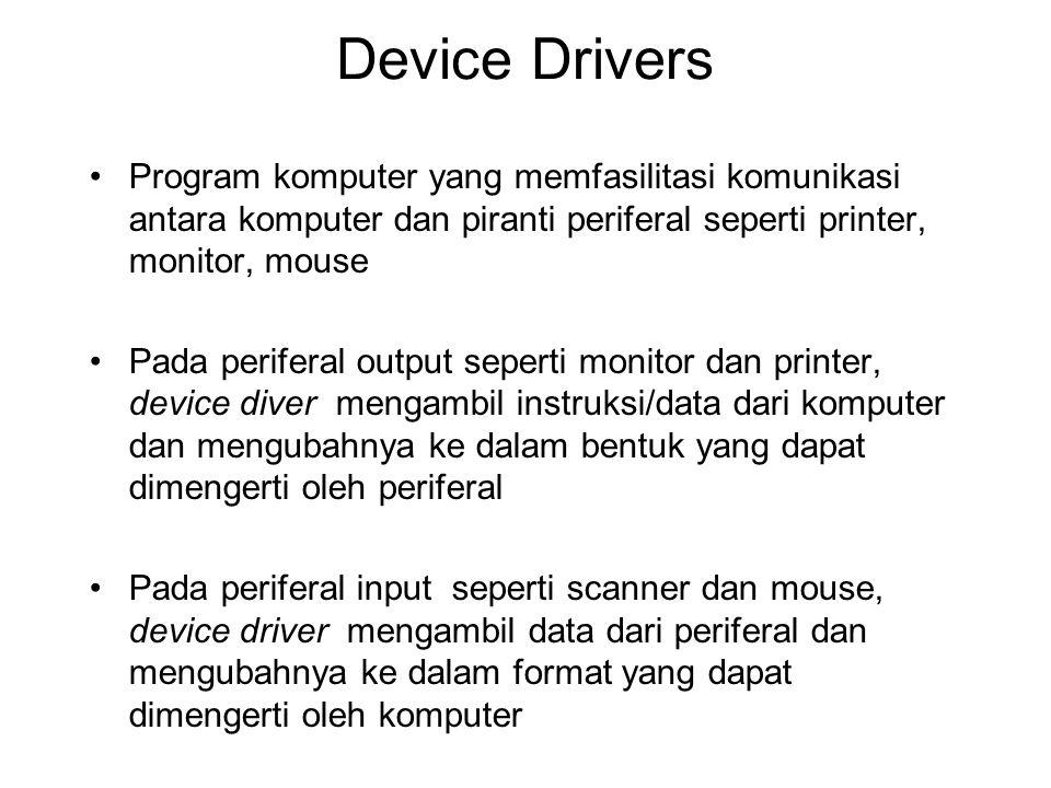Device Drivers Program komputer yang memfasilitasi komunikasi antara komputer dan piranti periferal seperti printer, monitor, mouse.
