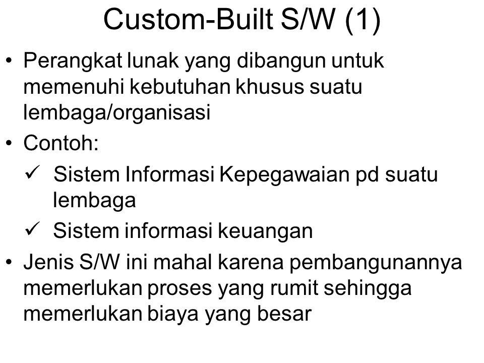 Custom-Built S/W (1) Perangkat lunak yang dibangun untuk memenuhi kebutuhan khusus suatu lembaga/organisasi.
