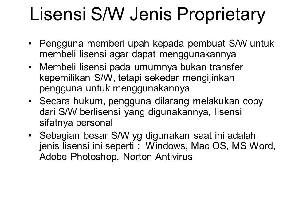 Lisensi S/W Jenis Proprietary
