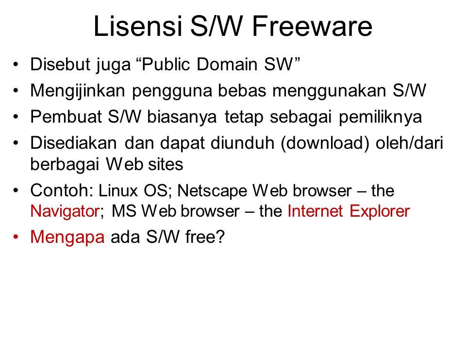 Lisensi S/W Freeware Disebut juga Public Domain SW