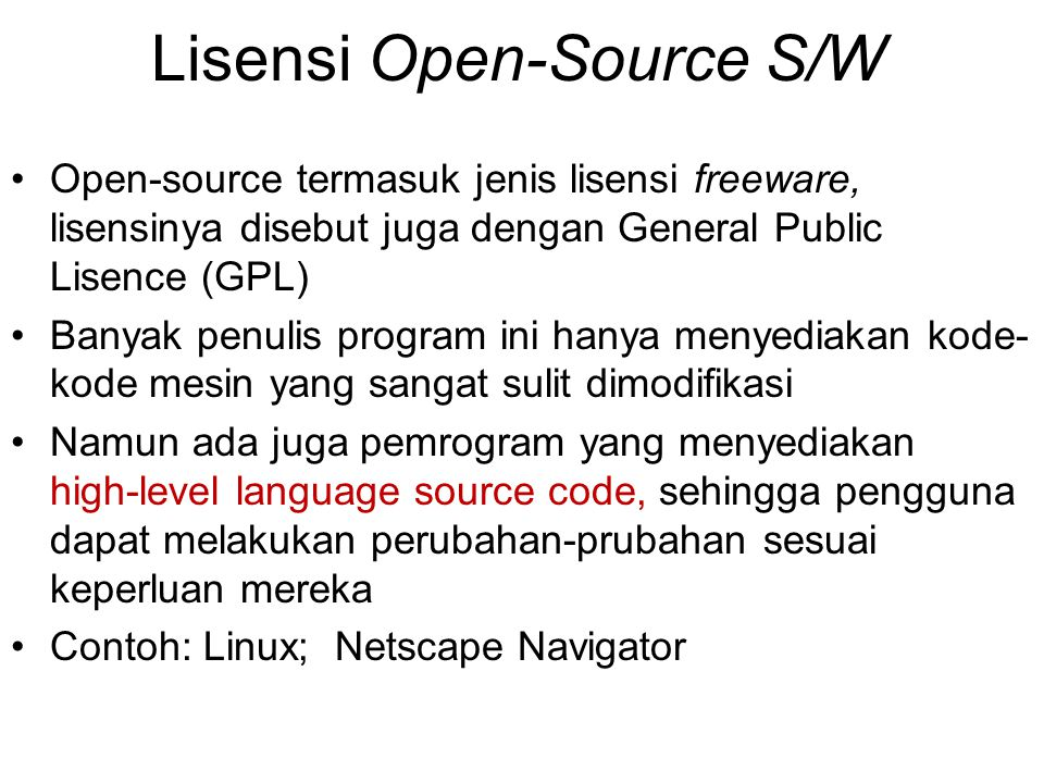 Lisensi Open-Source S/W