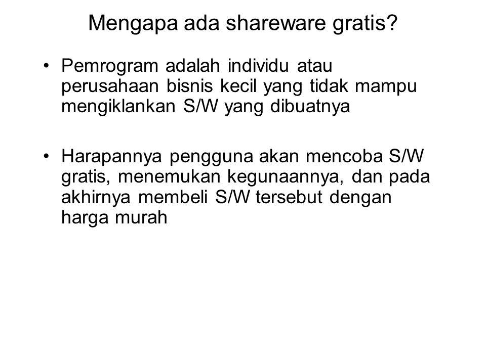Mengapa ada shareware gratis