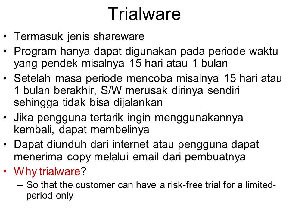 Trialware Termasuk jenis shareware